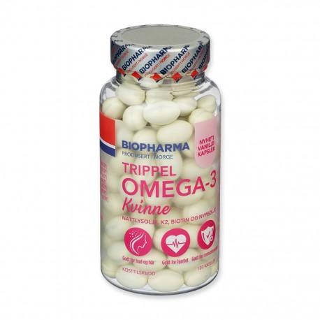 Trippel OMEGA-3 Kvinne 120 kps Biopharma