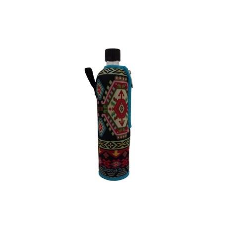 Sklenená fľaša 0,5l v neopréne-Ethno